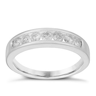 9ct White Gold Channel Set Half Carat Diamond Eternity Ring - Product number 3025209