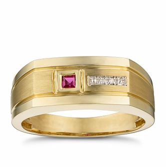Men's 9ct Yellow Gold Diamond & Created Ruby Signet Ring - Product number 3026892