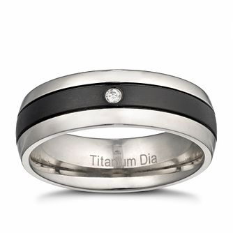 Men's Titanium Diamond Black Signet Ring - Product number 3027201