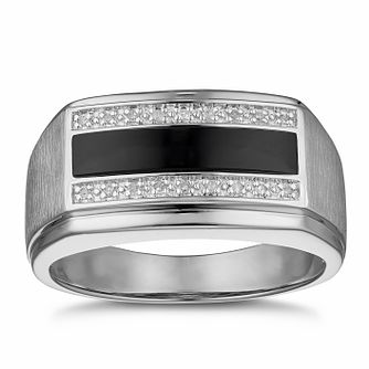 Men's Silver Diamond & Black Onyx Signet Ring - Product number 3027775