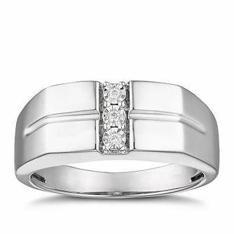 Men's Silver Diamond Signet Ring - Product number 3027996