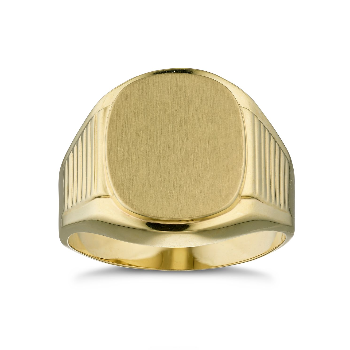 Men's 9ct Yellow Gold Plain Ridged Shoulder Signet Ring - Product number 3028178