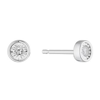 9ct White Gold 1/10ct Round Diamond Illusion Set Earrings - Product number 3028208