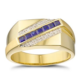 Men's 9ct Yellow Gold Diamond & Created Sapphire Signet Ring - Product number 3028593