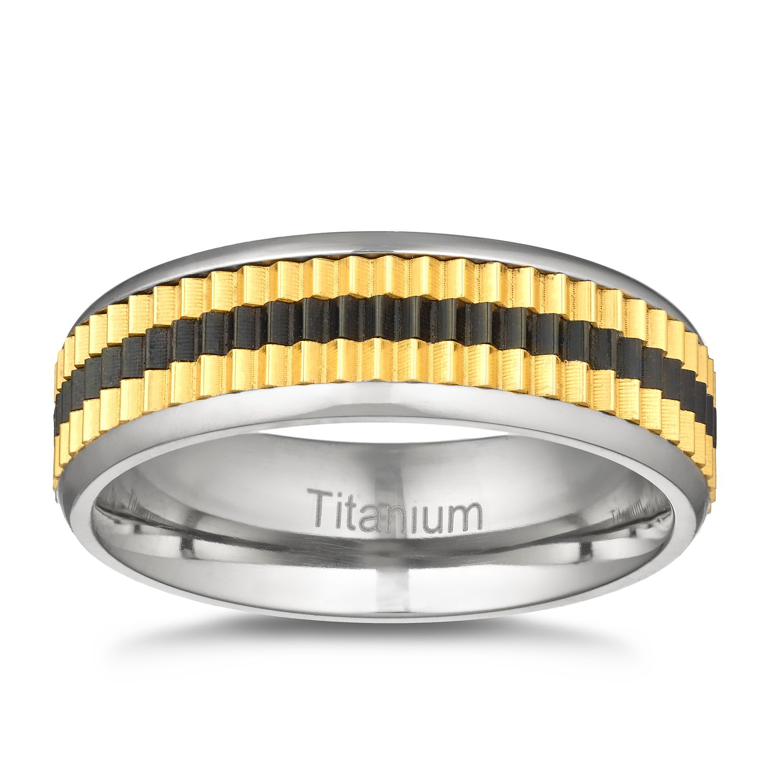 Men's Titanium Black & Gold Ridged Signet Ring - Product number 3028836
