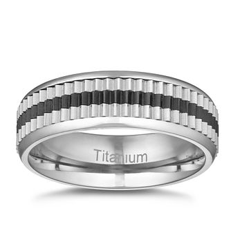 Men's Titanium Black & Silver Ridged Signet Ring - Product number 3029123