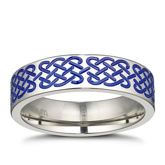 Men's Titanium Blue Tribal Weave Signet Ring - Product number 3029417