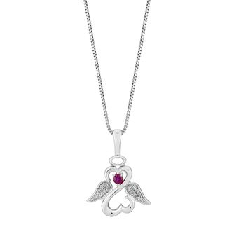 Open Hearts Angels By Jane Seymour Diamond & Ruby Pendant - Product number 3030407