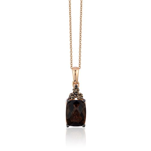 14ct Strawberry Gold Chocolate Quartz & Diamond Pendant - Product number 3031195
