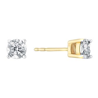 9ct Yellow Gold 0.10ct Total Diamond Stud Earrings - Product number 3031543