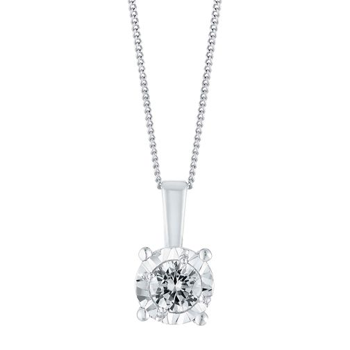 9ct White Gold Illusion 0.15 Carat Diamond Pendant Necklace - Product number 3031667
