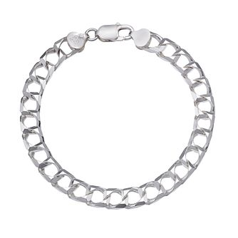 "Men's Silver 8.5"" Square Curb Chain Bracelet - Product number 3032949"