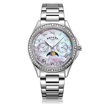 Rotary Moonphase Ladies' Stainless Steel Bracelet Watch - Product number 3034321