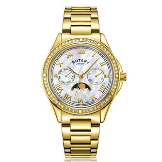 Rotary Moonphase Ladies' Yellow Gold Tone Bracelet Watch - Product number 3034437