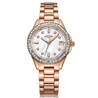 Rotary Crystal Set Ladies' Rose Gold Tone Bracelet Watch - Product number 3034615