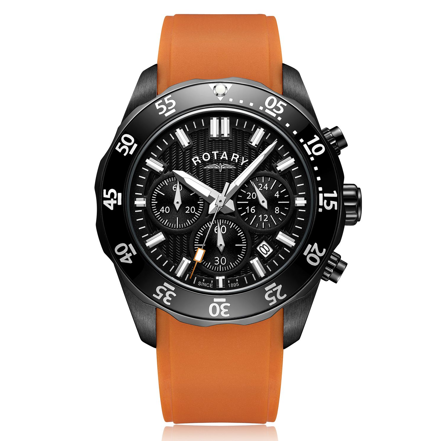 Rotary Men's Orange Rubber Strap Watch - Product number 3034836