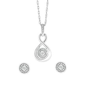 Sterling Silver & Diamond Round Swirl Earring & Pendant Set - Product number 3037215