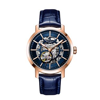 Rotary Greenwich Men's Blue Leather Strap Watch - Product number 3040798
