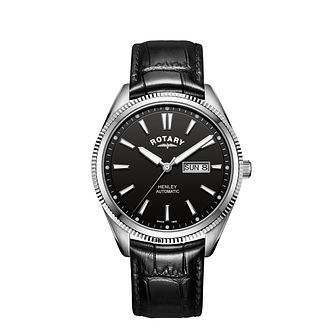 Rotary Henley Men's Black Leather Strap Watch - Product number 3040828