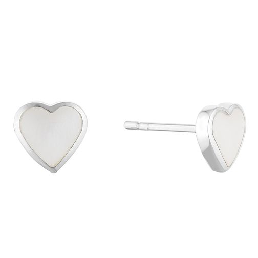Silver White Mother Of Pearl Heart Stud Earrings - Product number 3042790