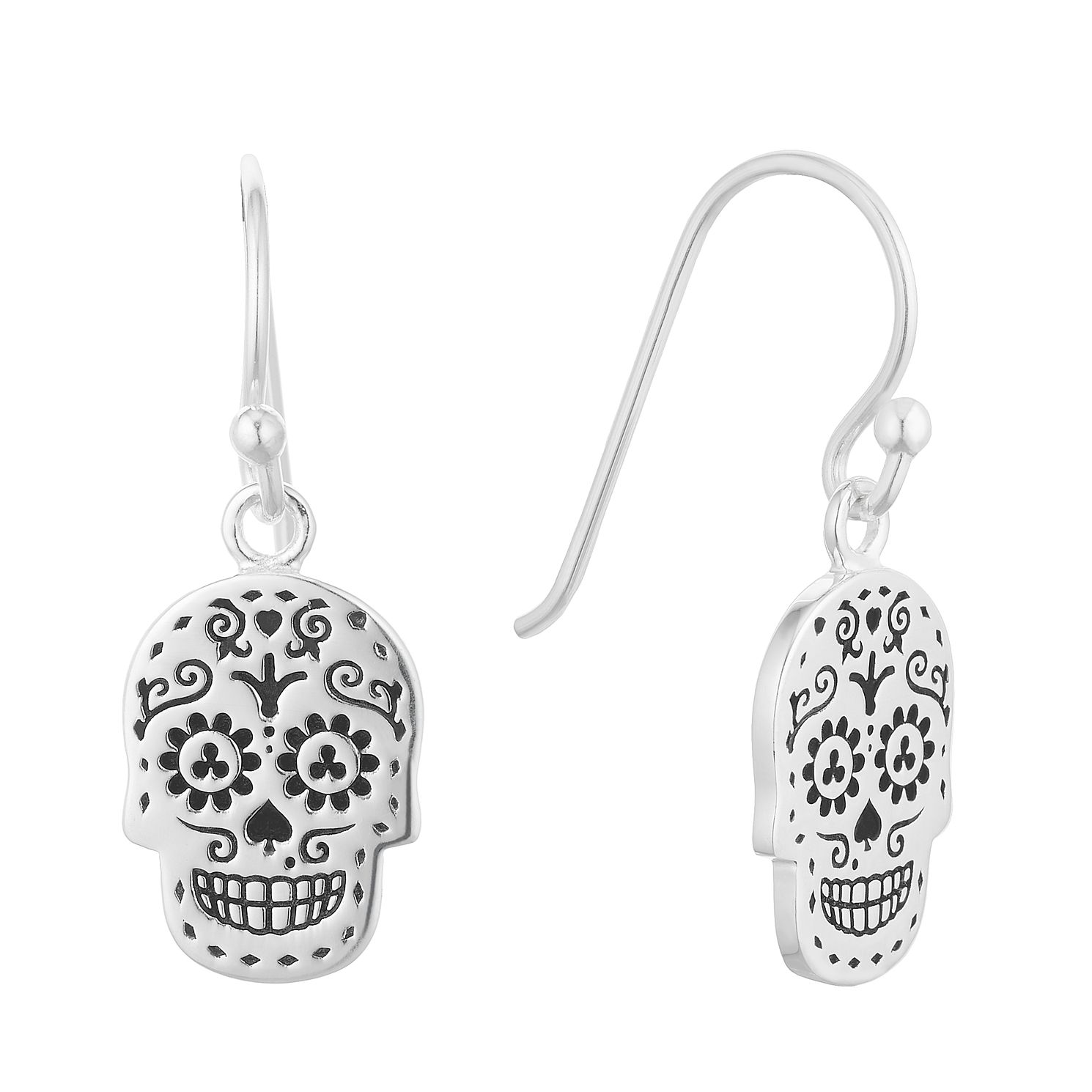 Silver Decorative Skull Drop Earrings - Product number 3042804