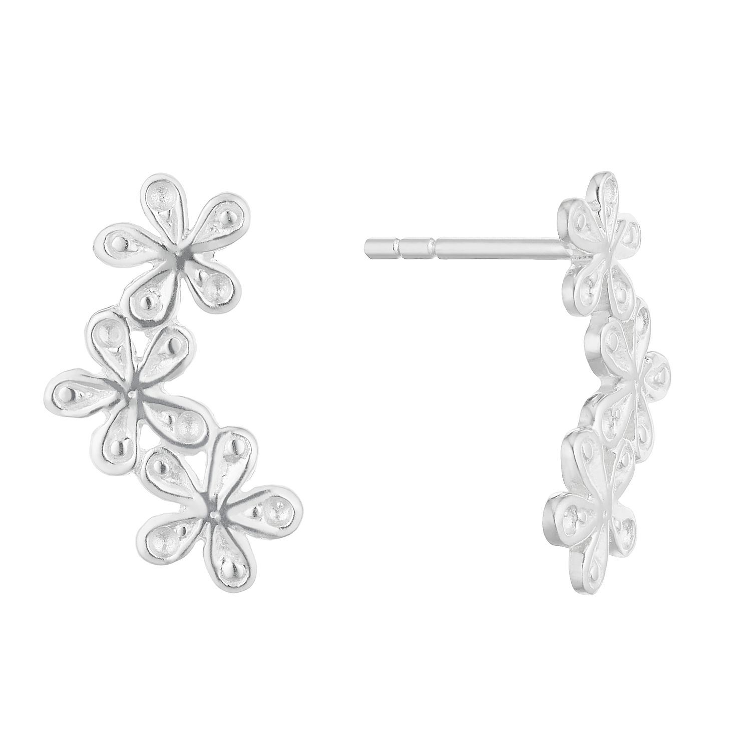 Silver Flower Trio Fancy Climber Stud Earrings - Product number 3042820