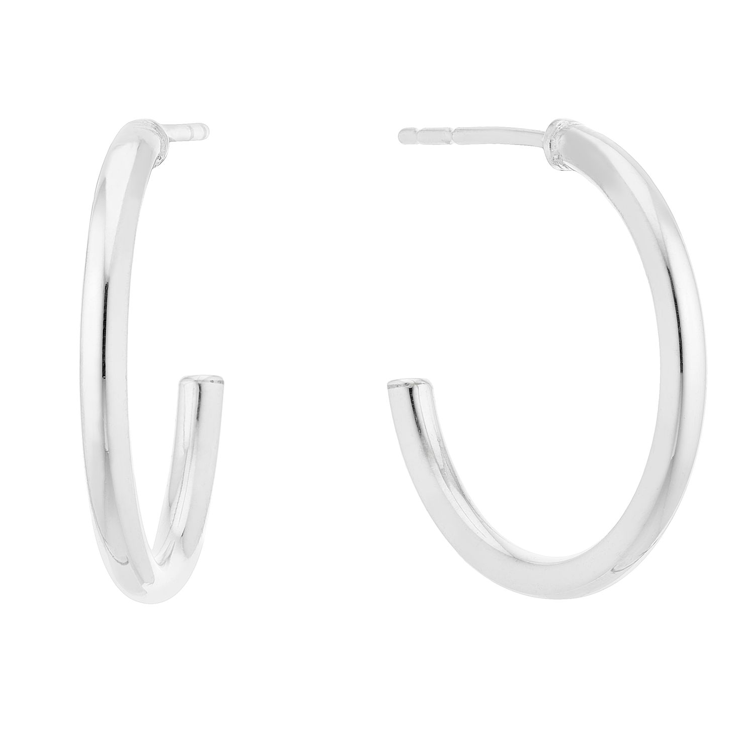 Silver Plain 18mm Post Hoop Earrings - Product number 3042898