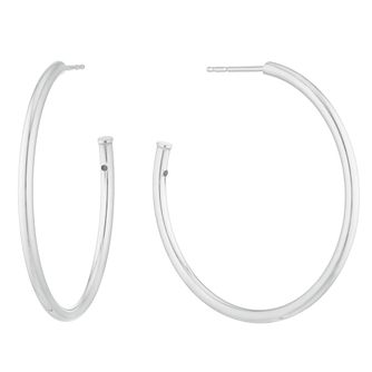 Silver 33mm Plain Post Hoop Earrings - Product number 3042944