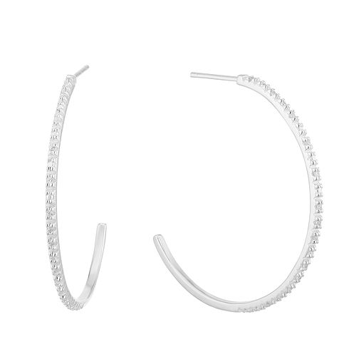 Silver Cubic Zirconia 28mm Post Hoop Earrings - Product number 3042952