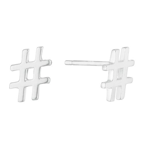 Silver Hashtag Stud Earrings - Product number 3043045