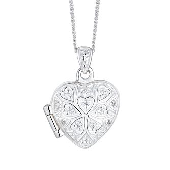 Silver Cubic Zirconia Clover Heart Locket - Product number 3043053