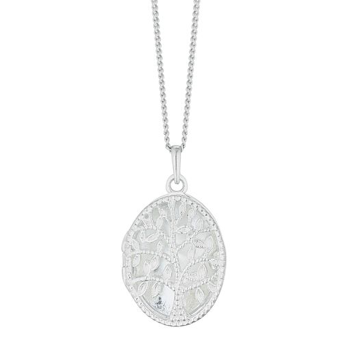 Silver CZ Filigree Tree Of Life Oval Locket - Product number 3043061