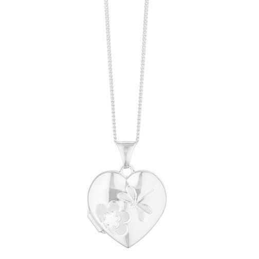 Silver Frosted Dragonfly Heart Locket - Product number 3043088