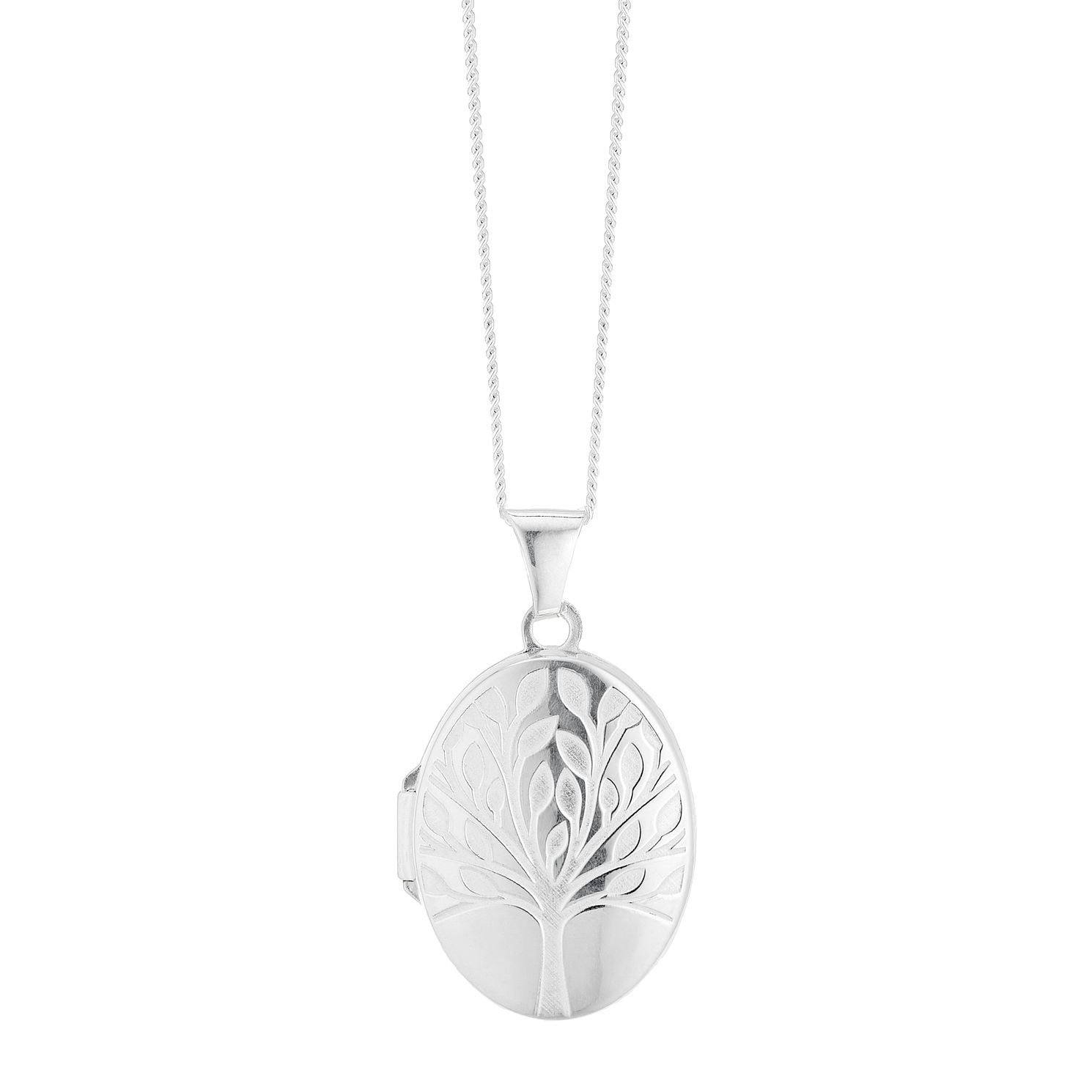 Silver Frosted Tree Of Life Design Oval Locket - Product number 3043096
