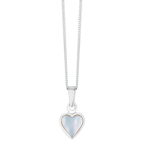 Silver White Mother Of Pearl Heart Pendant - Product number 3043126