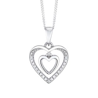 Silver Cubic Zirconia Double Heart Pendant - Product number 3043150