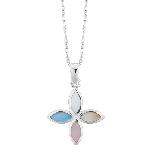 Silver Multicolour Mother Of Pearl Flower Pendant - Product number 3043282