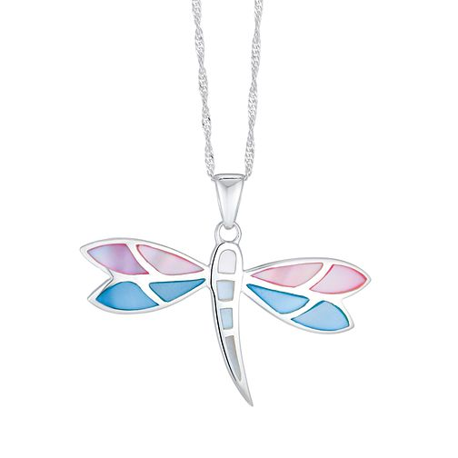 Silver Multicolour Mother Of Pearl Dragonfly Pendant - Product number 3043304