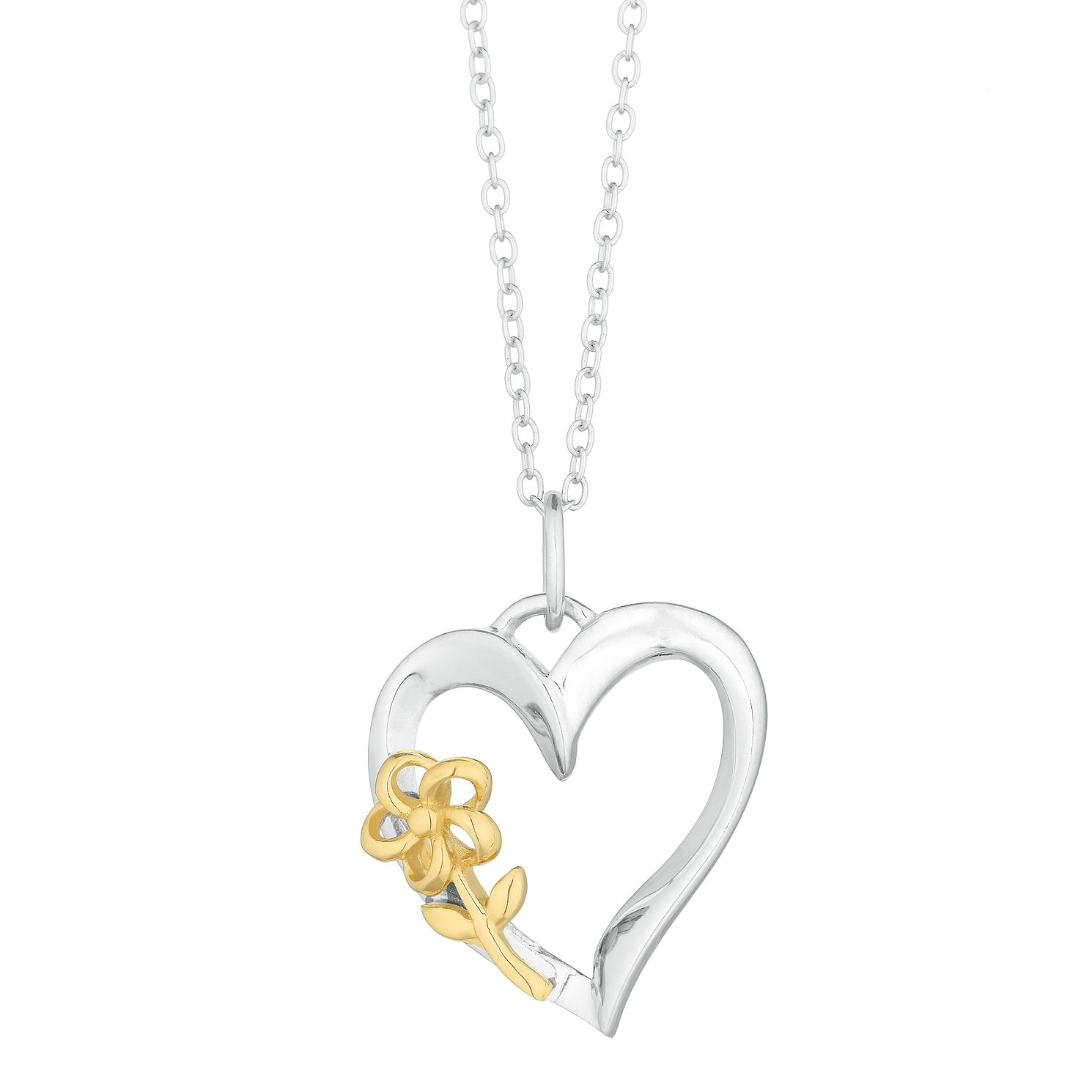 Silver Open Heart & Gold Plated Flower Pendant - Product number 3043320