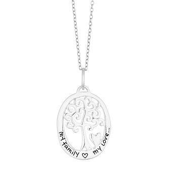 Silver My Family My Love Tree Of Life Design Oval Pendant - Product number 3043428