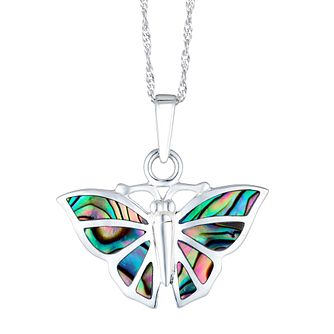 Silver Abalone Butterfly Pendant - Product number 3043452