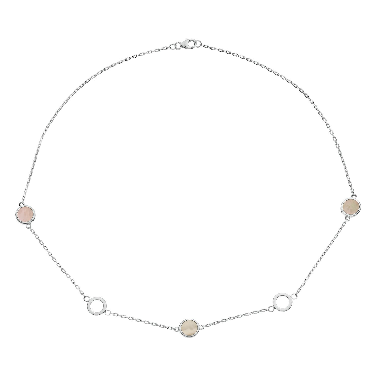 Silver Mother Of Pearl Station Chain Necklace - Product number 3043495
