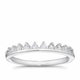 Silver Cubic Zirconia Tiara Ring - Size P - Product number 3043703
