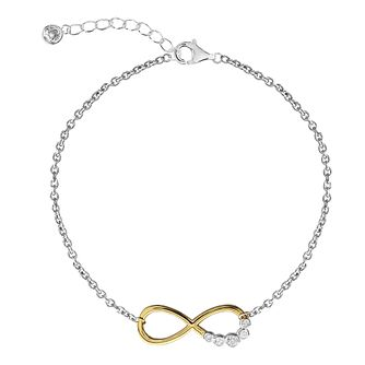 Silver & Yellow Gold Plated Cubic Zirconia Infinity Anklet - Product number 3043835