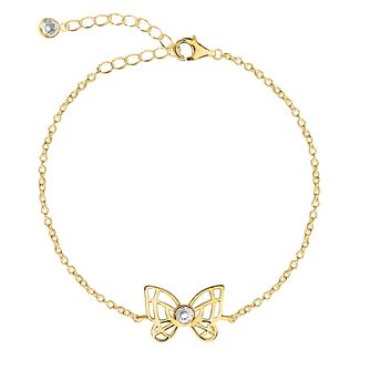 Yellow Gold Plated Cubic Zirconia Butterly Anklet - Product number 3043878