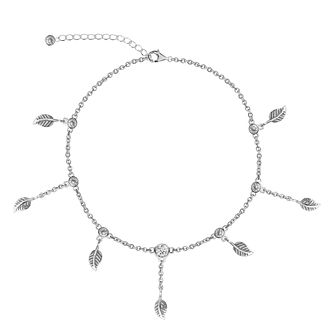 Silver Cubic Zirconia Leaf Dangle Anklet - Product number 3043908