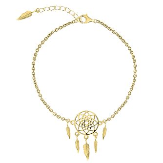 Yellow Gold Plated Dreamcatcher Dangle Anklet - Product number 3043924