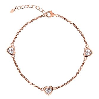 Rose Gold Plated Cubic Zirconia Hearts Station Anklet - Product number 3043940