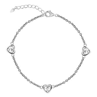 Silver Cubic Zirconia Hearts Station Anklet - Product number 3043959