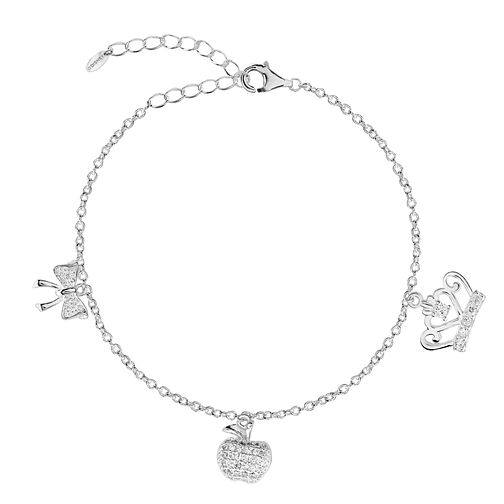 Silver Cubic Zirconia Crown, Apple & Bow Anklet - Product number 3043967